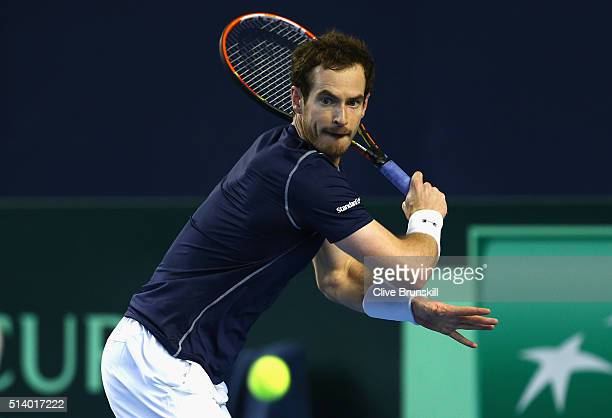 Andy Murray of Great Britains plays a backhand during the singles match against Kei Nishikori of Japan on day three of the Davis Cup World Group...