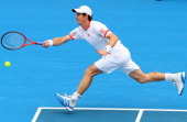 Andy Murray of Great Britian plays a forehand during his exhibition match against David Nalbandian of Argentina during day three of the 2012 Kooyong...