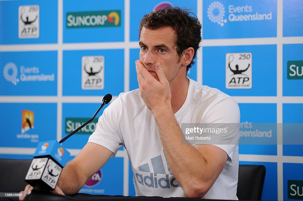 Andy Murray of Great Britian talks during a press conference on day three of the Brisbane International at Pat Rafter Arena on January 1, 2013 in Brisbane, Australia.