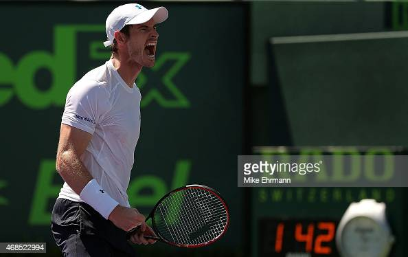 Andy Murray of Great Brittain celebrates winning his semifinal match against Tomas Berdych of the Czech Republic during Day 12 of the Miami Open...