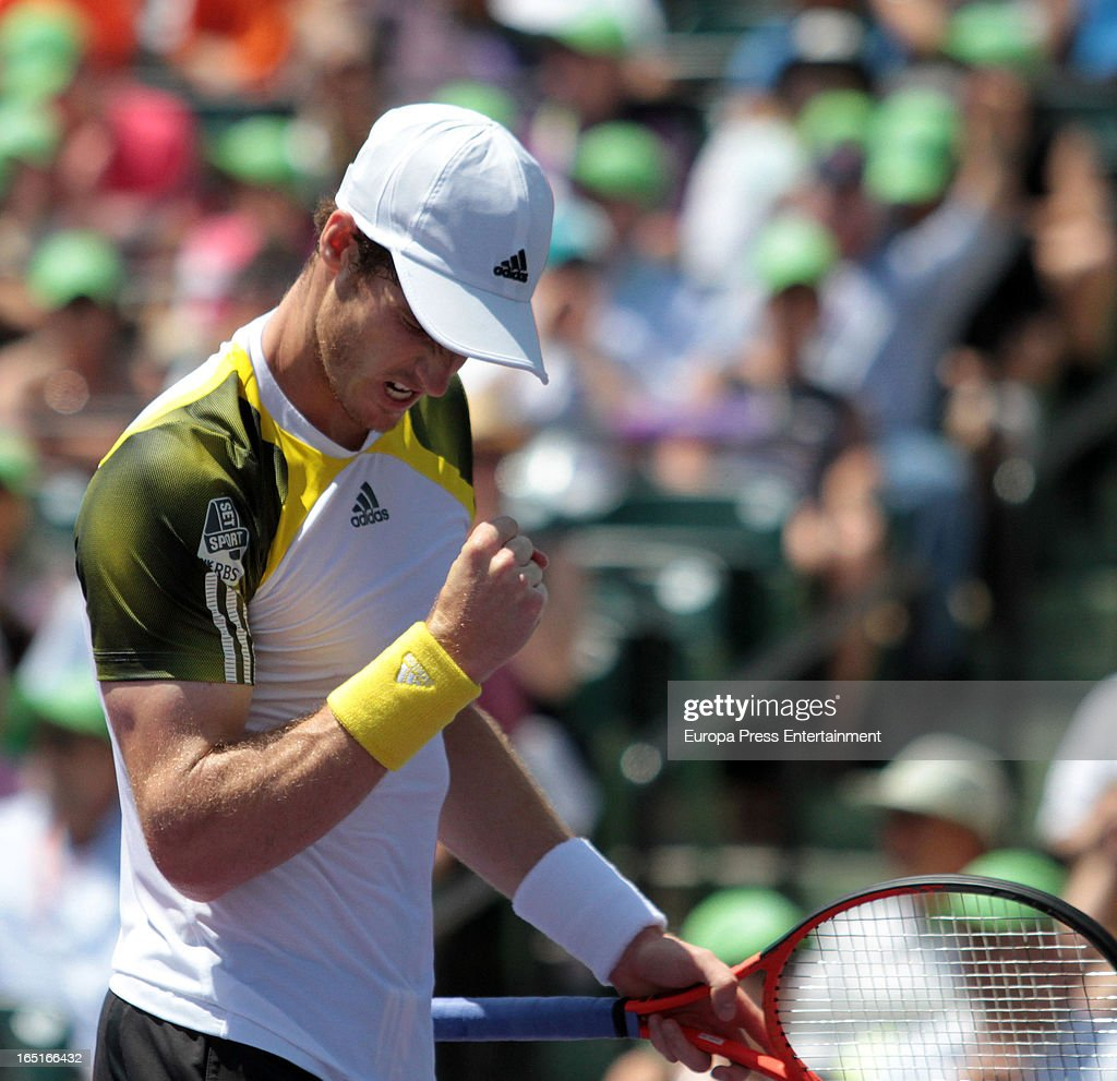 Andy Murray of Great Brittain plays in the final of the Sony Open against David Ferrer of Spain at Crandon Park Tennis Center on March 31, 2013 in Key Biscayne, Florida.