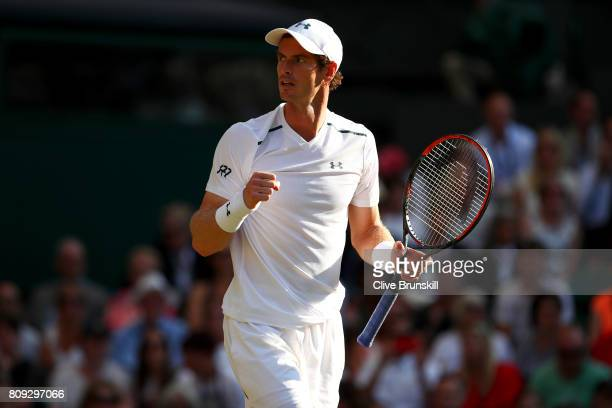 Andy Murray of Great celebrates victory after his Gentlemen's Singles second round match against Dustin Brown of Germany on day three of the...