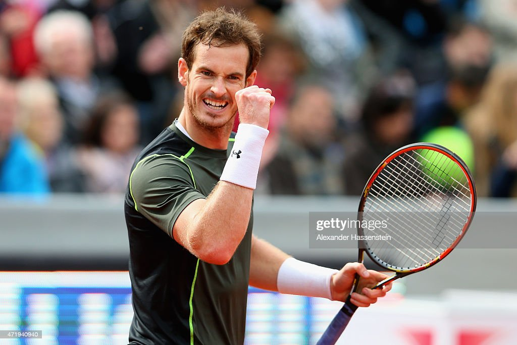 <a gi-track='captionPersonalityLinkClicked' href=/galleries/search?phrase=Andy+Murray+-+Tennisser&family=editorial&specificpeople=200668 ng-click='$event.stopPropagation()'>Andy Murray</a> of Scotland celebrates victory after winning his semi finale match against Roberto Bautista Agut of Spain of the BMW Open at Iphitos tennis club on May 2, 2015 in Munich, Germany.