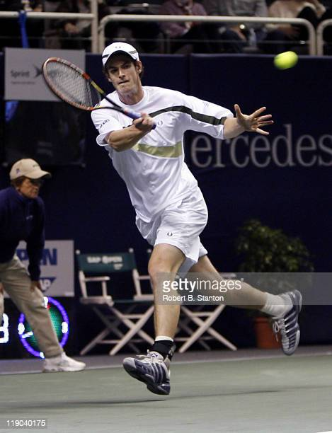 Andy Murray of Scotland defeated Kevin Kim of the USA by a score of 63 61in first round play at the 2007 SAP Open at the HP Pavilion in San Jose...