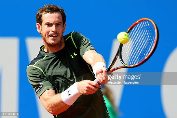 Andy Murray of Scotland plays a backhand against Mischa Zverev of Germany during the fiirst round match of the BMW Open at Iphitos tennis club on...