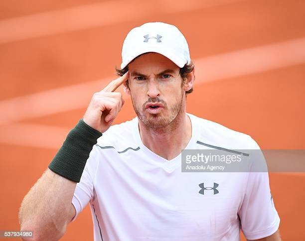 Andy Murray of United Kingdom reacts after winning the men's single semi final match against Stan Wawrinka of Switzerland at the French Open tennis...