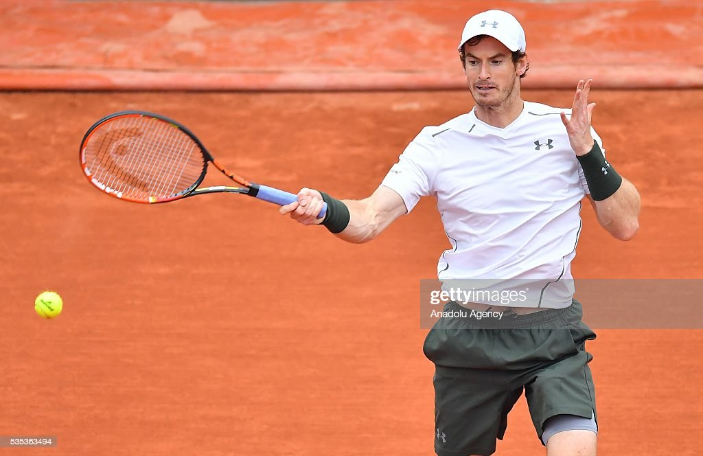 Andy Murray of United Kingdom reacts during the match against John Isner of US in the men's single fourth round match at the French Open tennis tournament at Roland Garros Stadium in Paris, France on May 29, 2016.
