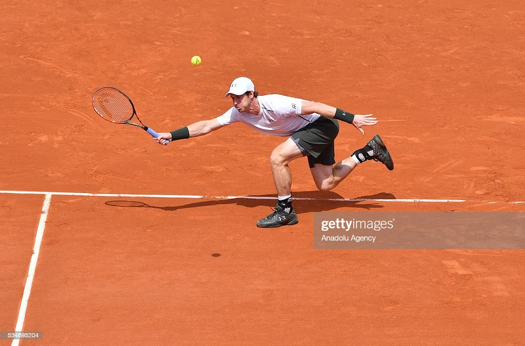 Andy Murray of United Kingdom returns to Ivo Karlovic (not seen) of Croatia during the men's single third round match at the French Open tennis tournament at Roland Garros Stadium in Paris, France on May 27, 2016.