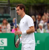 Andy Murray plays at the BNP Paribas Tennis Classic at The Hurlingham Club on June 20 2013 in London England