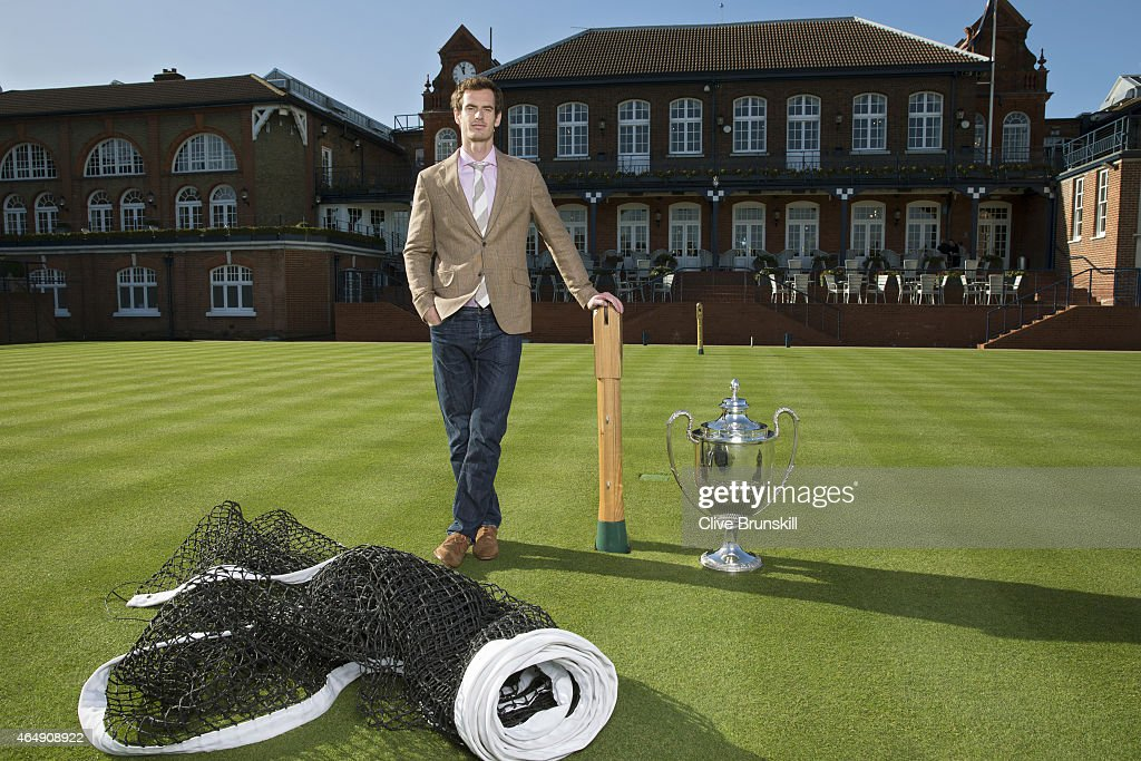 Andy Murray poses with the Aegon Championships Trophy at The Queens Club, home of the Aegon Championships, where he will go for a fourth title in June, on February 17, 2015 in London, England.