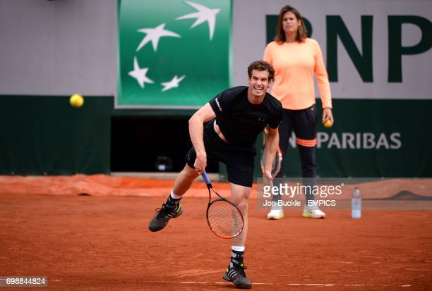 Andy Murray practices watched by coach Amelie Mauresmo on day nine of the French Open at Roland Garros on June 1st 2015 in Paris France