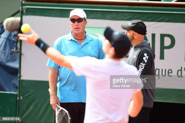 Andy Murray practises whilst watched by his coach Ivan Lendl during day 3 of the French Open at Roland Garros on May 30 2017 in Paris France