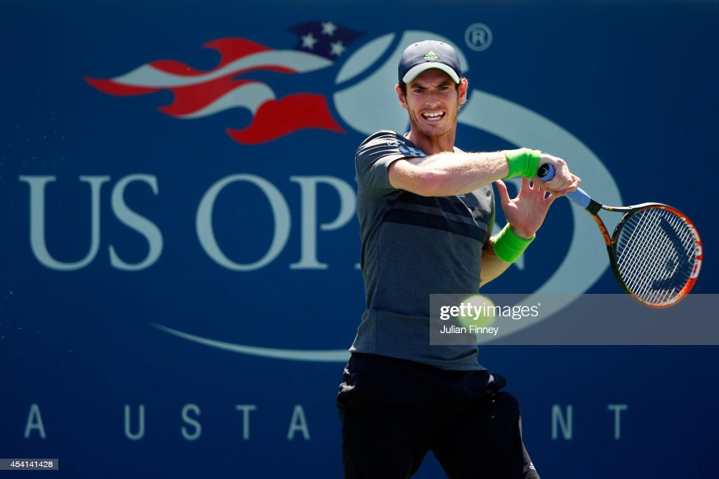 Andy Murray returns a shot against Robin Haase of the Netherlands on Day One of the 2014 US Open at the USTA Billie Jean King National Tennis Center on August 25, 2014 in the Flushing neighborhood of the Queens borough of New York City.