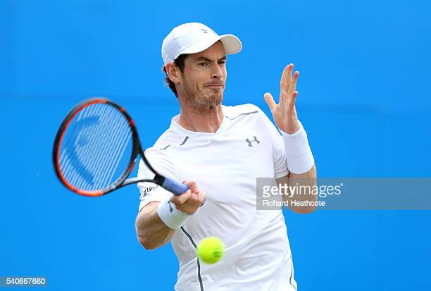 Andy Murray returns against Aljaz Bedene during their second round match on day four of The Aegon Championships at The Queens Club on June 16 2016 in...