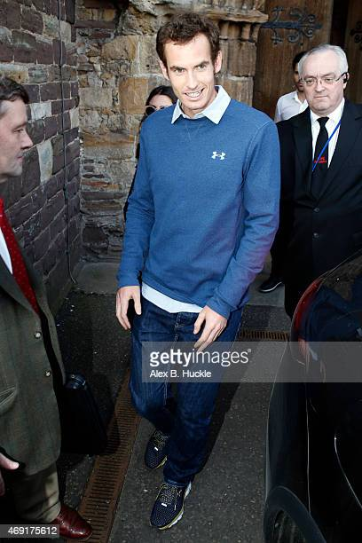 Andy Murray seen leaving Dunblane Cathedral after a rehearsal the day before his wedding to Kim Sears on April 10 2015 in Dunblane Scotland