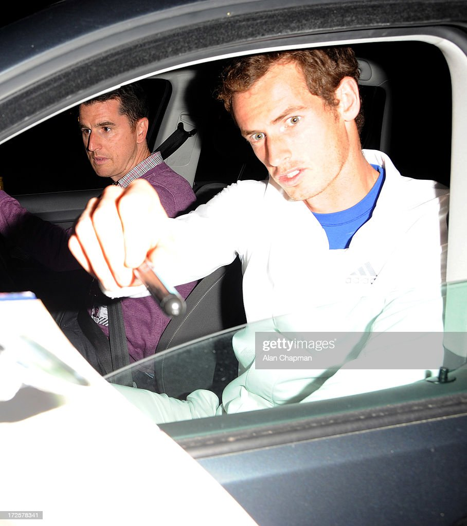 <a gi-track='captionPersonalityLinkClicked' href=/galleries/search?phrase=Andy+Murray+-+Tennis+Player&family=editorial&specificpeople=200668 ng-click='$event.stopPropagation()'>Andy Murray</a> sighting leaving Wimbledon on July 3, 2013 in London, England.