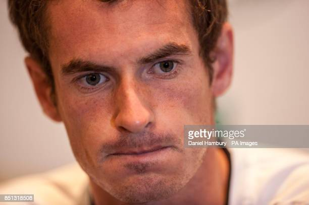 Andy Murray speaks during a press conference following the BNP Paribas Tennis Classic at the Hurlingham Club London