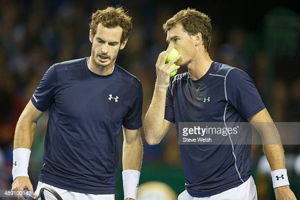 Andy Murray takes some advice from brother Jamie Murray of Great Britain during day 2 of the Great Britain v Australia Davis Cup Semi Final 2015 at...