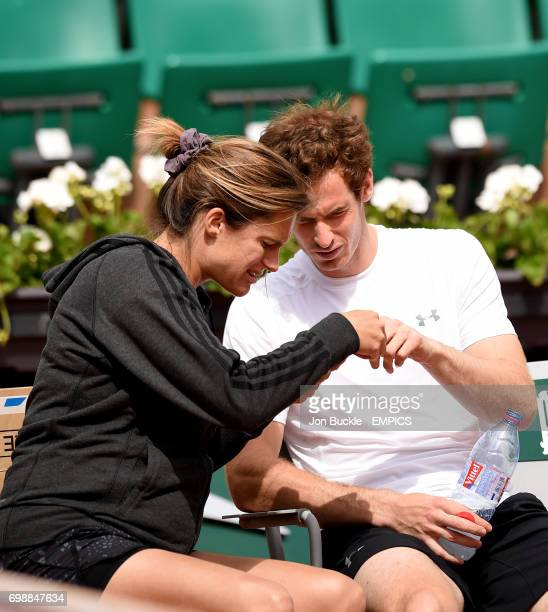 Andy Murray with coach Amelie Mauresmo during practice on day ten of the French Open at Roland Garros on June 2 2015 in Paris France