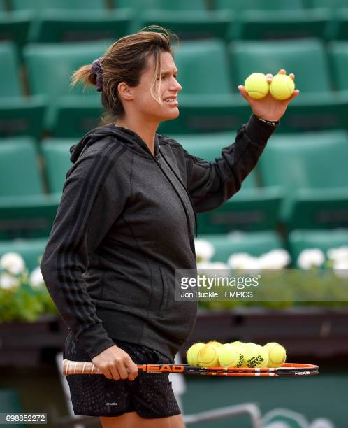Andy Murray's coach Amelie Mauresmo during practice on day ten of the French Open at Roland Garros on June 2 2015 in Paris France