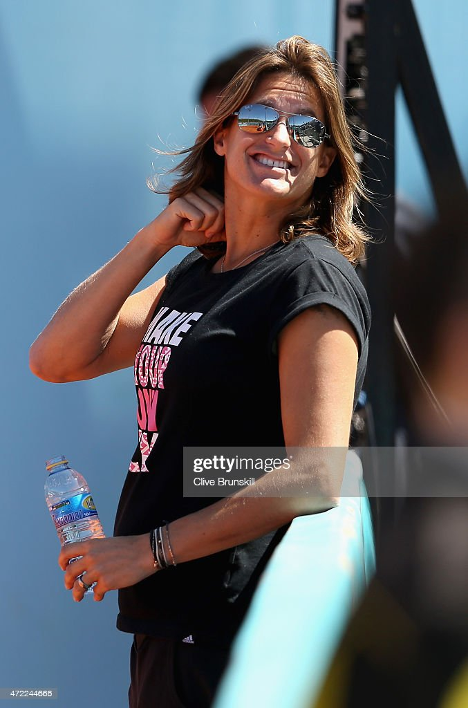 Andy Murray's coach <a gi-track='captionPersonalityLinkClicked' href=/galleries/search?phrase=Amelie+Mauresmo&family=editorial&specificpeople=161389 ng-click='$event.stopPropagation()'>Amelie Mauresmo</a> in good spirits during Andy Murray's first practice session prior to his second round match during day four of the Mutua Madrid Open tennis tournament at the Caja Magica on May 5, 2015 in Madrid, Spain.