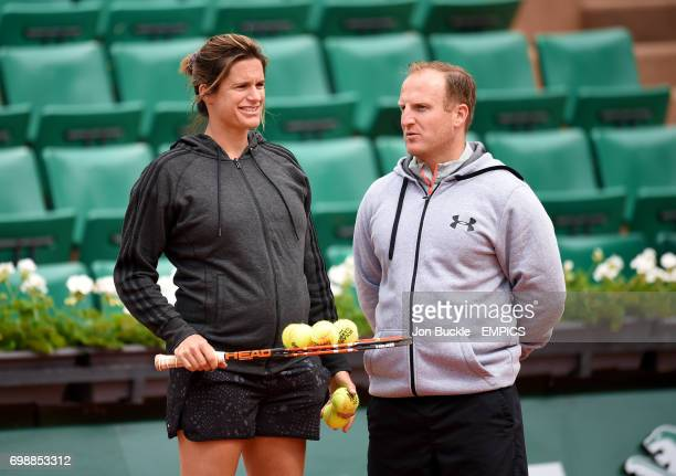 Andy Murray's coach Amelie Mauresmo with his trainer Mark Little during practice on day ten of the French Open at Roland Garros on June 2 2015 in...