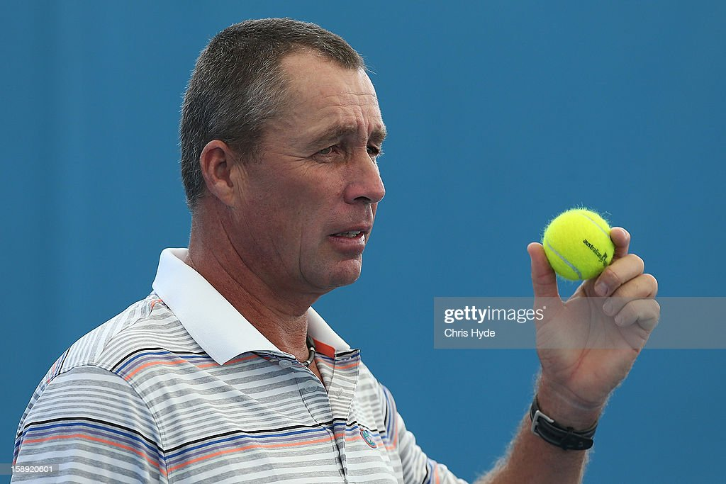 Andy Murray's coach Ivan Lendl looks on during a practice session on day six of the Brisbane International at Pat Rafter Arena on January 4, 2013 in Brisbane, Australia.