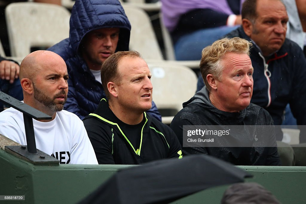 Andy Murray's of Great Britain coaching team of Jamie Delgado, Matt Little and Mark Bender look on during his Men's Singles fourth round match against John Isner of the United States on day eight of the 2016 French Open at Roland Garros on May 29, 2016 in Paris, France.