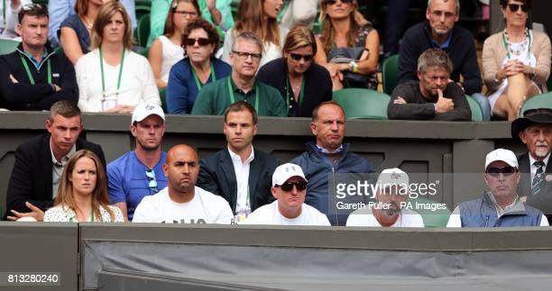 Andy Murray's player box of Kim Murray Shane Annun Matt Little Jamie Delgado and Ivan Lendl Josh Murray Leon Smith and Matt Gentry on day Nine of the...