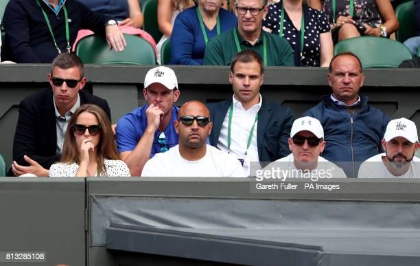 Andy Murray's player box of Kim Murray Shane Annun Matt Little Jamie Delgado and Josh Murray Leon Smith and Matt Gentry on day nine of the Wimbledon...