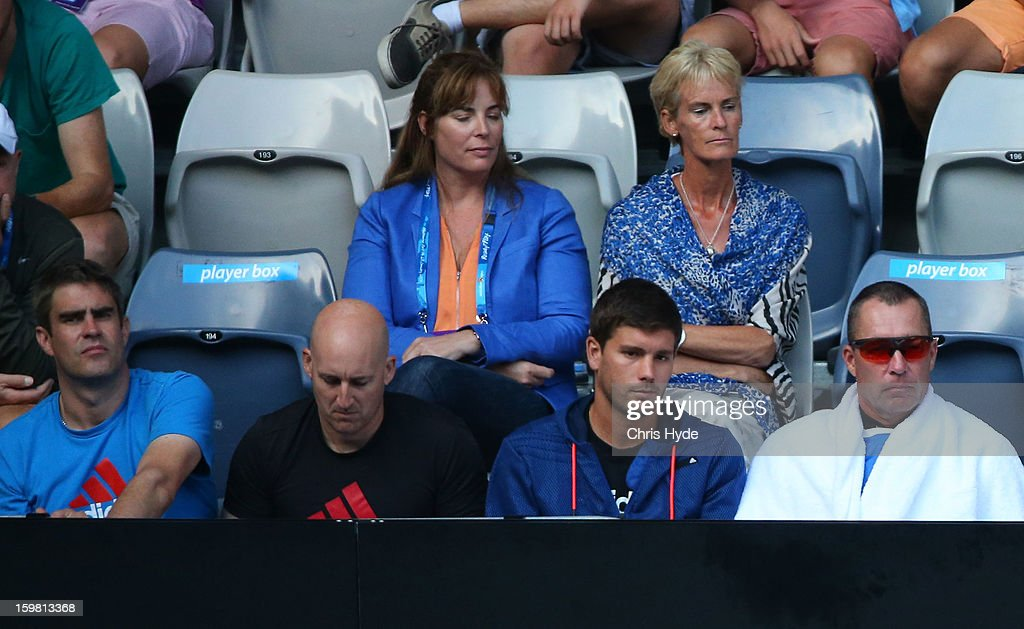 Andy Murray's support crew watch the men's fourth round match between Andy Murray of Great Britain and Gilles Simon of France during day eight of the 2013 Australian Open at Melbourne Park on January 21, 2013 in Melbourne, Australia.
