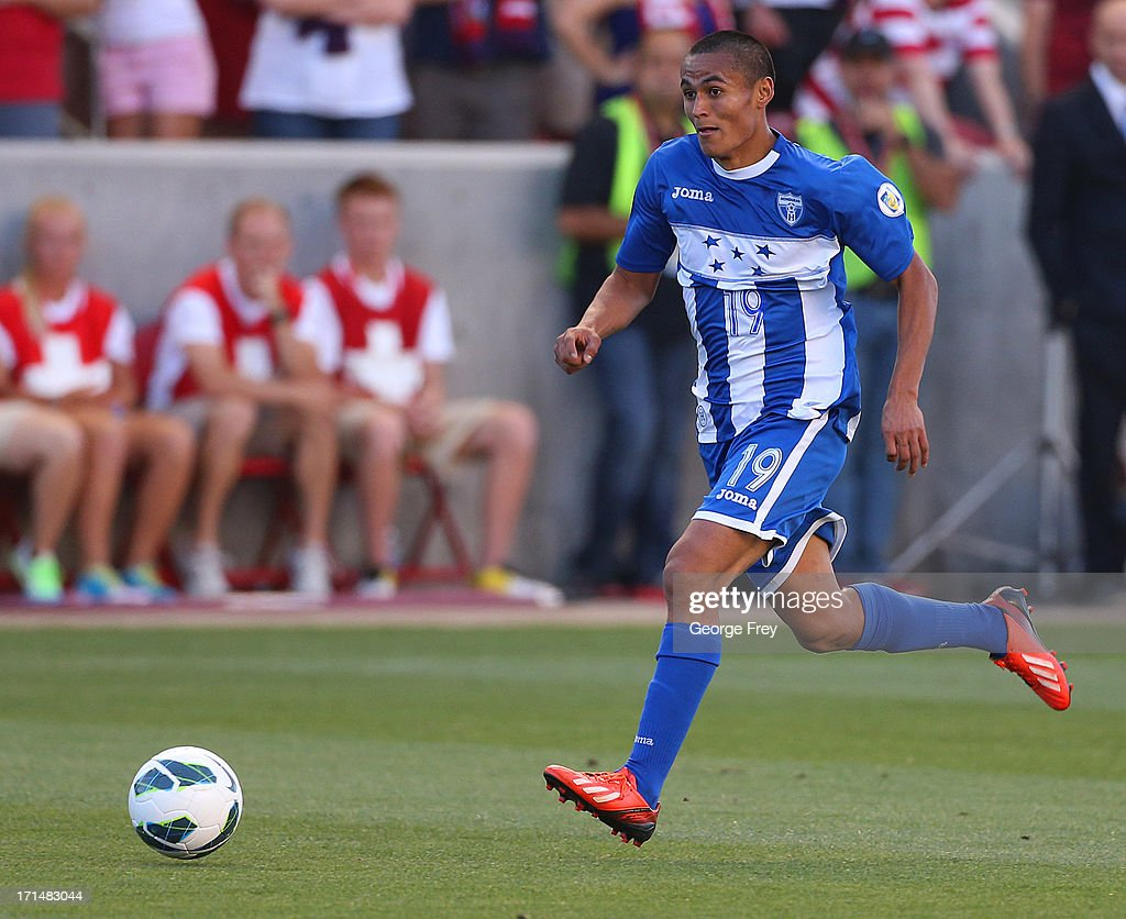 Andy Najar #19 of Honduras brings the ball down field during a game against the United States during the first half of an World Cup Qualifying March June 18, 2013 at Rio Tinto Stadium in Sandy, Utah. The USA beat Honduras 1-0.