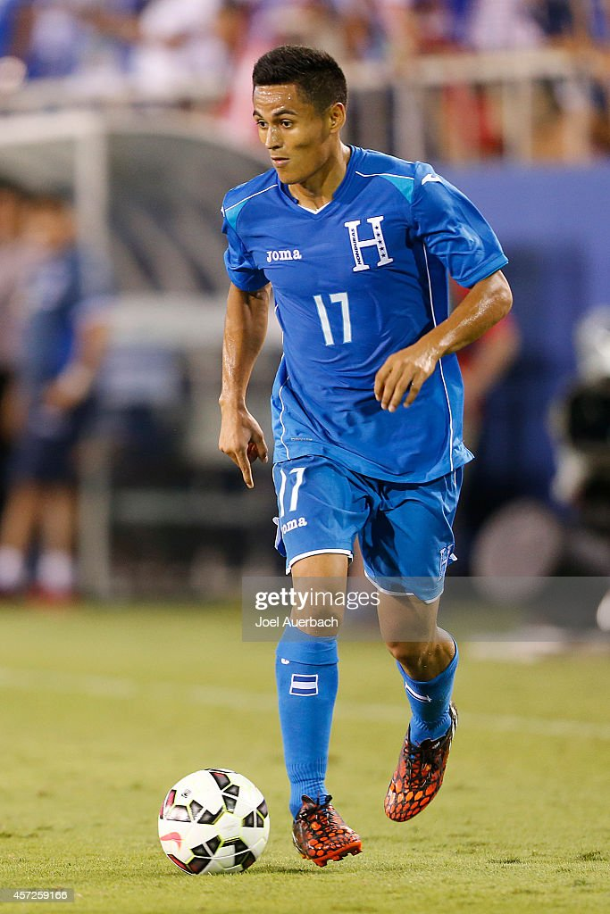 Andy Najar #17 of Honduras brings the ball up field against the USA during an International Friendly match on October 14, 2014 at FAU Stadium in Boca Raton, Florida. The match ended in a 1-1 tie.