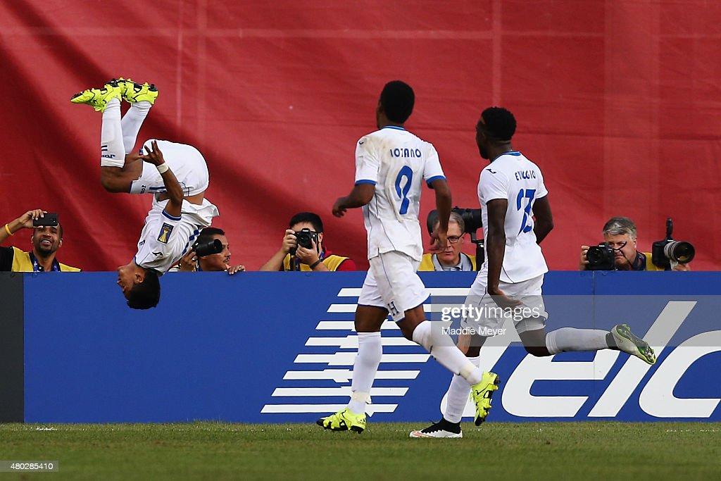 Andy Najar of Honduras does a backflip in celebration of his penalty kick goal during the 2015 CONCACAF Gold Cup match between Honduras and Panama at...