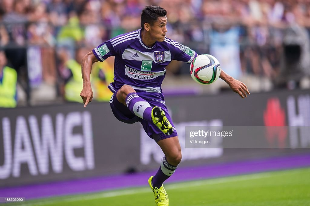 <a gi-track='captionPersonalityLinkClicked' href=/galleries/search?phrase=Andy+Najar&family=editorial&specificpeople=6872158 ng-click='$event.stopPropagation()'>Andy Najar</a> of RSC Anderlecht during the Jupiler Pro League match between RSC Anderlecht and KAA Gent on August 9th, 2015 at the Constant Vanden Stockstadion in Brussels, Belgium.