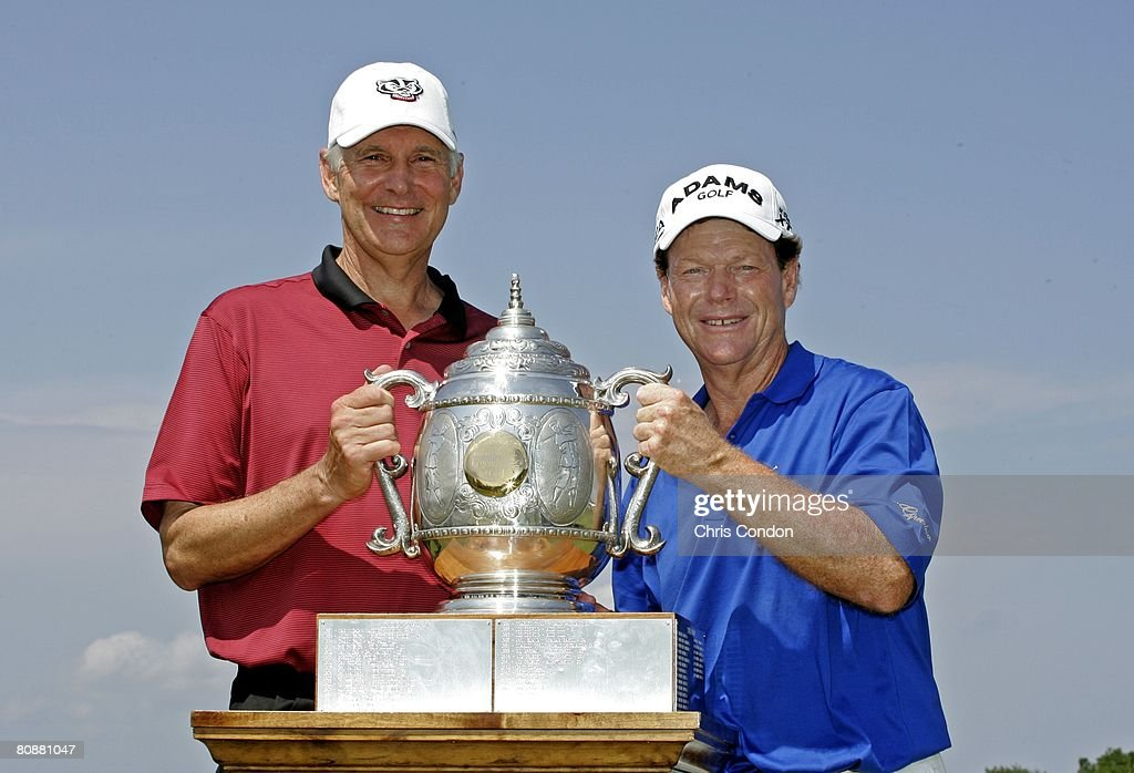 Andy North and Tom Watson pose with the trophy after winning the Legends Division at the Liberty Mutual Legends of Golf at Westin Savannah Harbor...