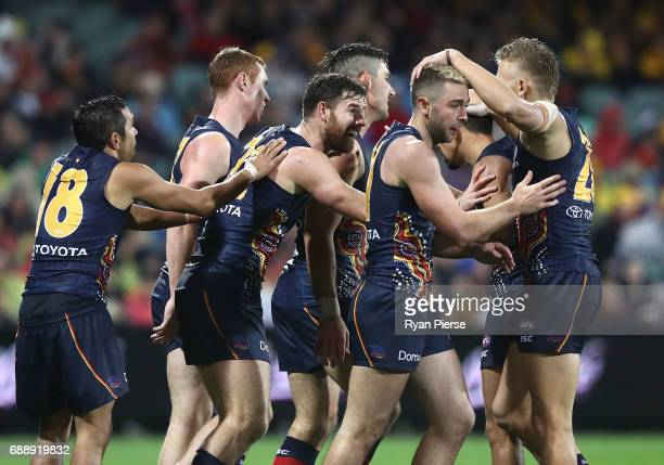 Andy Otten of the Crows celebrates a goal during the round 10 AFL match between the Adelaide Crows and the Fremantle Dockers at Adelaide Oval on May...