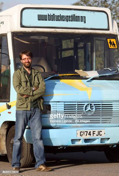 Andy Pag with his 'Biotruck' a former school bus modified to run on used cooking oil which he plans to drive around the world