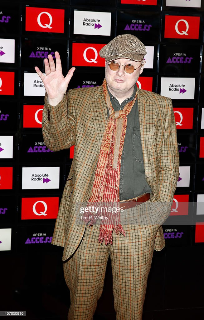 Andy Partridge poses for photos in front of the worlds first digital branding board from Sony at the Xperia Access Q Awards at The Grosvenor House Hotel on October 22, 2014 in London, England.