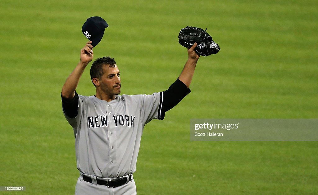 Andy Pettitte #46 of the New York Yankees celebrates after pitching his last game and defeating the Houston Astros 2-1 at Minute Maid Park on September 28, 2013 in Houston, Texas.