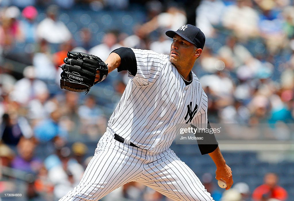 Andy Pettitte #46 of the New York Yankees in action against the Baltimore Orioles at Yankee Stadium on July 6, 2013 in the Bronx borough of New York City. The Yankees defeated the Orioles 5-4.