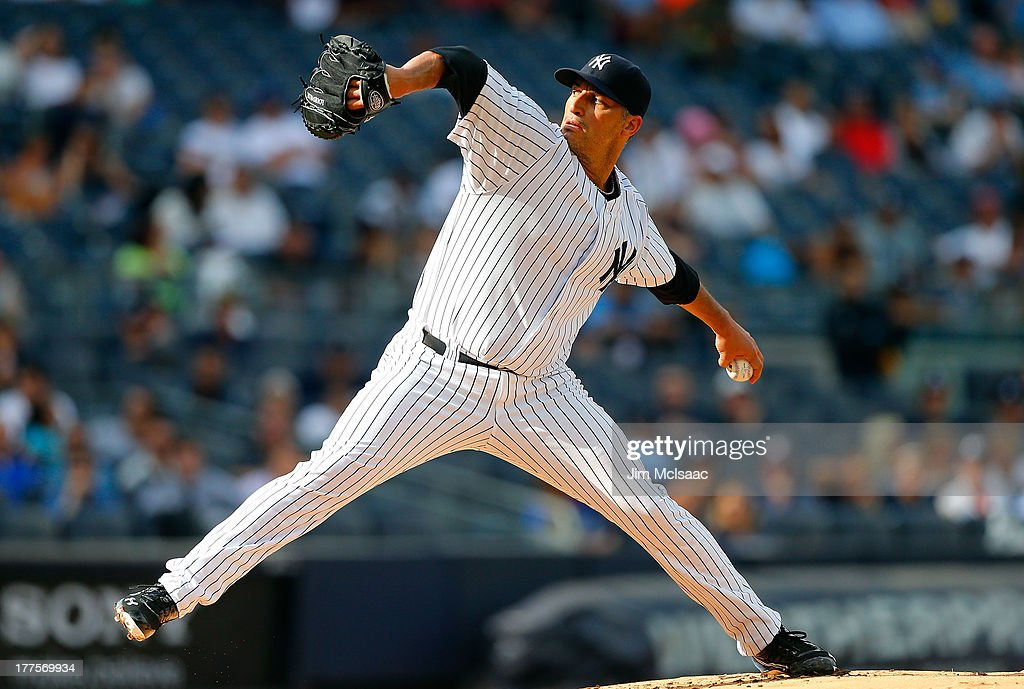 Andy Pettitte #46 of the New York Yankees in action against the Toronto Blue Jays at Yankee Stadium on August 22, 2013 in the Bronx borough of New York City. The Yankees defeated the Blue Jays 5-3.