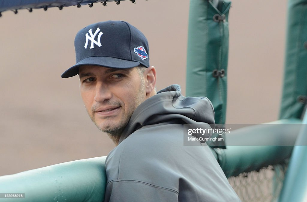 Andy Pettitte #46 of the New York Yankees looks on during Game Four of the American League Championship Series against the Detroit Tigers at Comerica Park on October 18, 2012 in Detroit, Michigan. The Tigers defeated the Yankees 8-1 and now advance to the World Series.