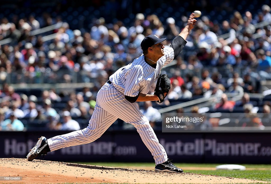 <a gi-track='captionPersonalityLinkClicked' href=/galleries/search?phrase=Andy+Pettitte&family=editorial&specificpeople=201753 ng-click='$event.stopPropagation()'>Andy Pettitte</a> #46 of the New York Yankees pitches against the Oakland Athletics at Yankee Stadium on May 5, 2013 in the Bronx borough of New York City.