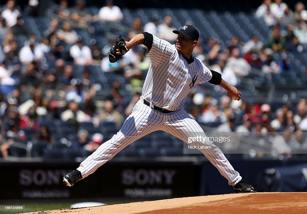 Andy Pettitte #46 of the New York Yankees pitches against the Oakland Athletics at Yankee Stadium on May 5, 2013 in the Bronx borough of New York City.