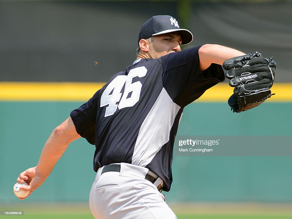 <a gi-track='captionPersonalityLinkClicked' href=/galleries/search?phrase=Andy+Pettitte&family=editorial&specificpeople=201753 ng-click='$event.stopPropagation()'>Andy Pettitte</a> #46 of the New York Yankees pitches during the spring training game against the Detroit Tigers at Joker Marchant Stadium on March 23, 2013 in Lakeland, Florida. The Tigers defeated the Yankees 10-6.