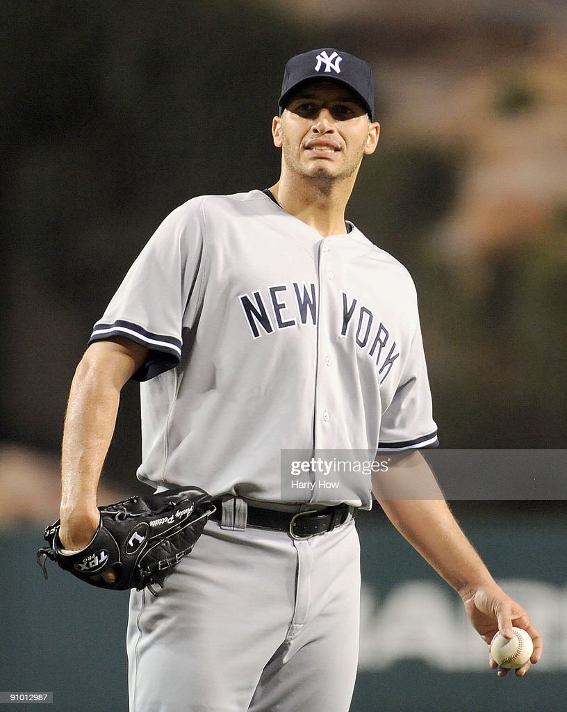 <a gi-track='captionPersonalityLinkClicked' href=/galleries/search?phrase=Andy+Pettitte&family=editorial&specificpeople=201753 ng-click='$event.stopPropagation()'>Andy Pettitte</a> #46 of the New York Yankees reacts after allowing the first run to the Los Angeles Angels of Anaheim to trail 0-1 during the first inning at Angel Stadium on September 21, 2009 in Anaheim, California.