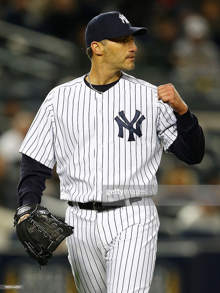 Andy Pettitte #46 of the New York Yankees reacts after the final out of the sixth inning against the Boston Red Sox on April 4, 2013 at Yankee Stadium in the Bronx borough of New York City.