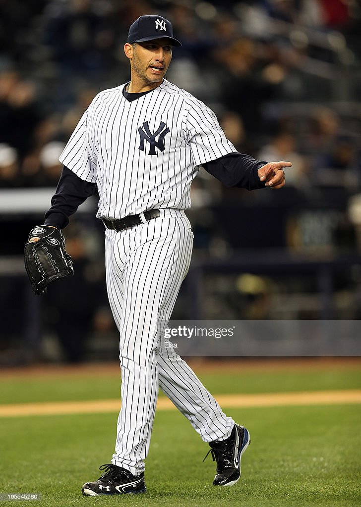 Andy Pettitte #46 of the New York Yankees reacts to the final out of the eighth inning against the Boston Red Sox n April 4, 2013 at Yankee Stadium in the Bronx borough of New York City.