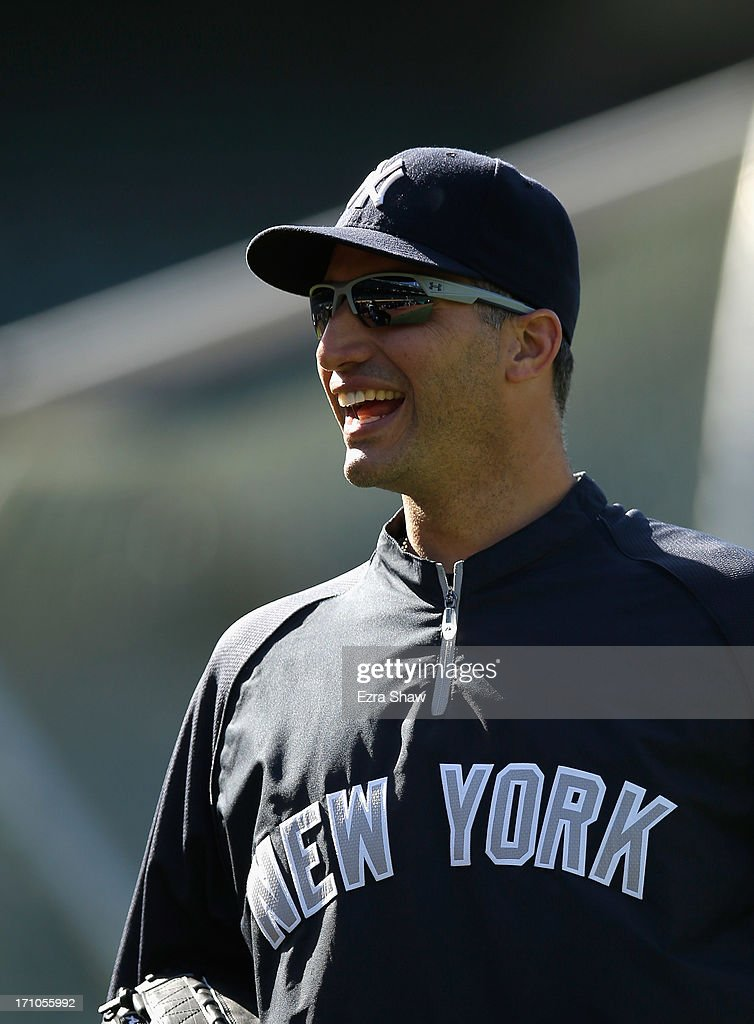 <a gi-track='captionPersonalityLinkClicked' href=/galleries/search?phrase=Andy+Pettitte&family=editorial&specificpeople=201753 ng-click='$event.stopPropagation()'>Andy Pettitte</a> #46 of the New York Yankees stands on the field during batting practice before their game against the Oakland Athletics at O.co Coliseum on June 12, 2013 in Oakland, California.